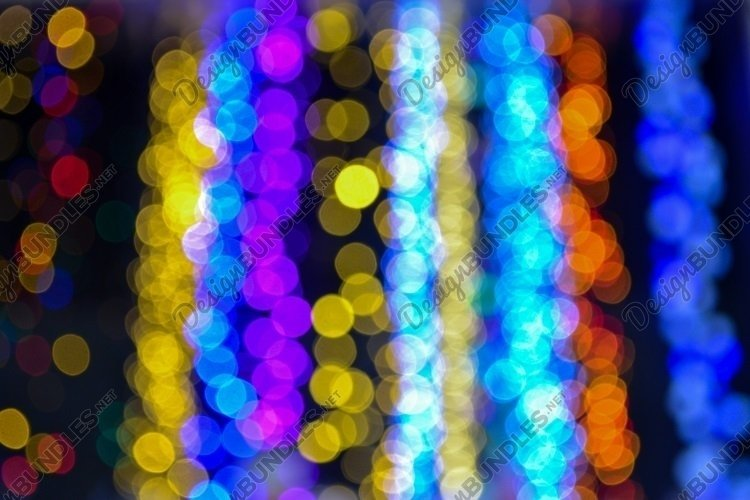 Blurred lights, colorful garland, bokeh, festive background example image 1