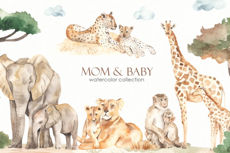Mom and baby animals Watercolor example image 1