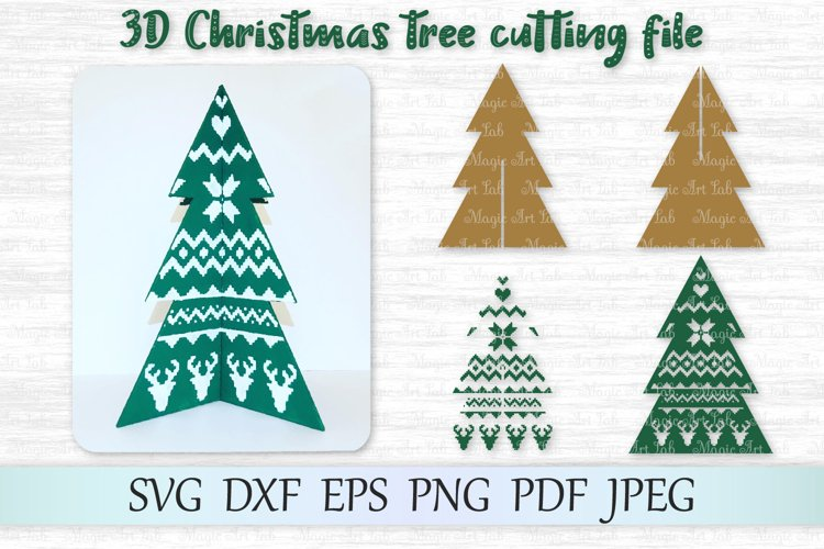 3D Christmas tree svg, 3D Christmas tree template, Tree svg example image 1