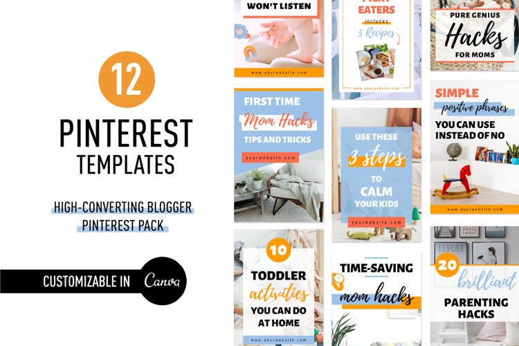 High- Converting Blogger Pinterest Pin Pack | Canva example image 1