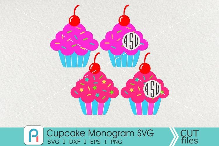Cupcake Monogram Svg, Cupcake Svg, Cupcake Clip Art example image 1