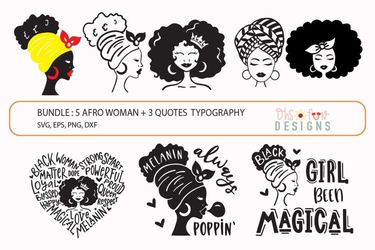 Bundle Afro woman SVG, black woman matter quote