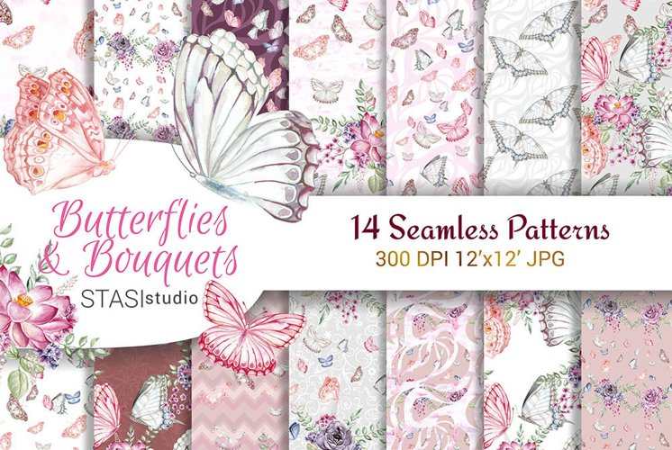 Butterfly Scrapbook Paper, Floral Designer Paper Seamless example image 1