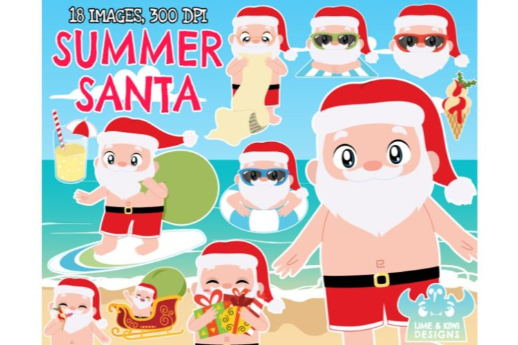 Summer Santa Clipart - Lime and Kiwi Designs