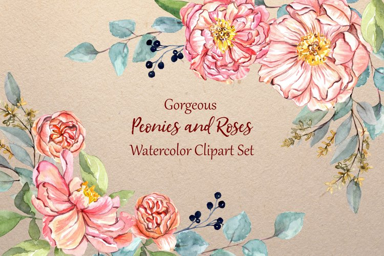 Gorgeous Peonies and Roses Watercolor Clipart Set example image 1