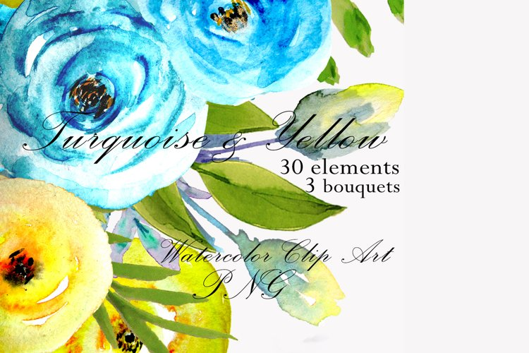 Watercolor flowers clipart design blue and yellow invite example image 1