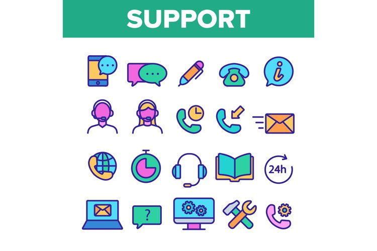 Client Support Vector Thin Line Icons Set example image 1
