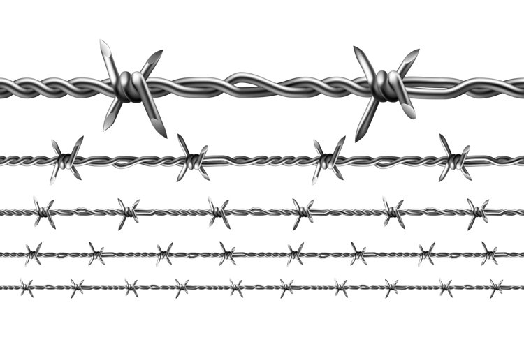 Wire Of Prison Fence Seamless Pattern Set Vector example image 1