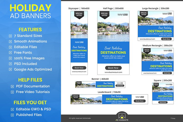 Tour & Travel - Holiday Travel Animated Ad Banner Template example image 1