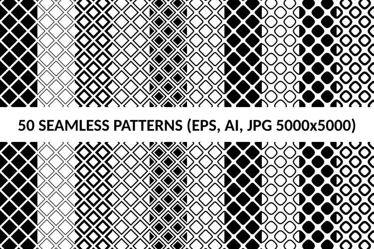 50 Seamless Square Patterns AI, EPS, JPG 5000x5000