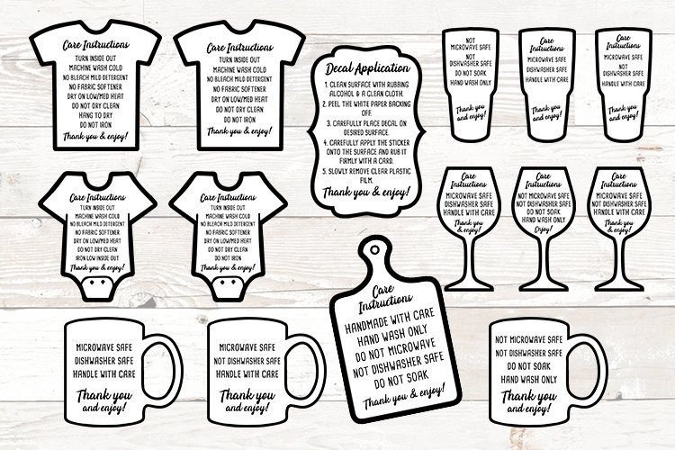 Care Instructions Care Cards Bundle SVG PNG JPG EPS example image 1