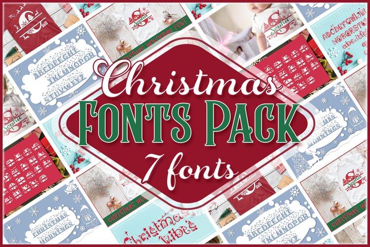 Christmas Fonts Bundle   Christmas Monogram Font