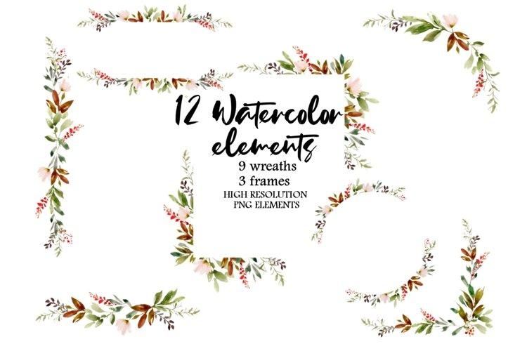 Watercolor Floral Elements, Wreaths Clipart, Floral Frames