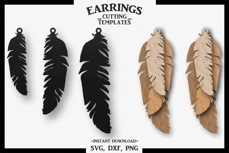 Feather Earrings, Silhouette, Cricut, Cut File, SVG DXF PNG