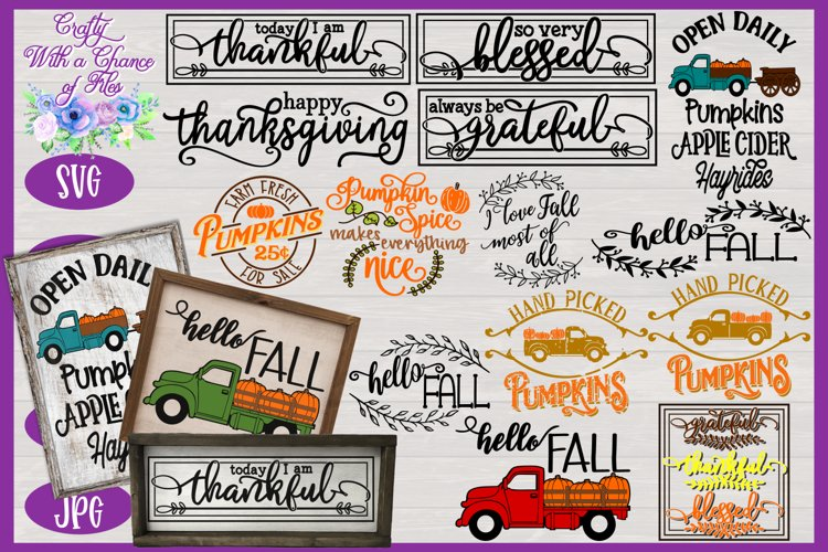Fall SVG Bundle | Autumn Sign SVGs | Fall Farmhouse Designs example image 1