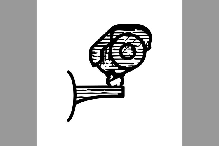 hand drawn cctv camera security symbol line icon, Vector Ill example image 1