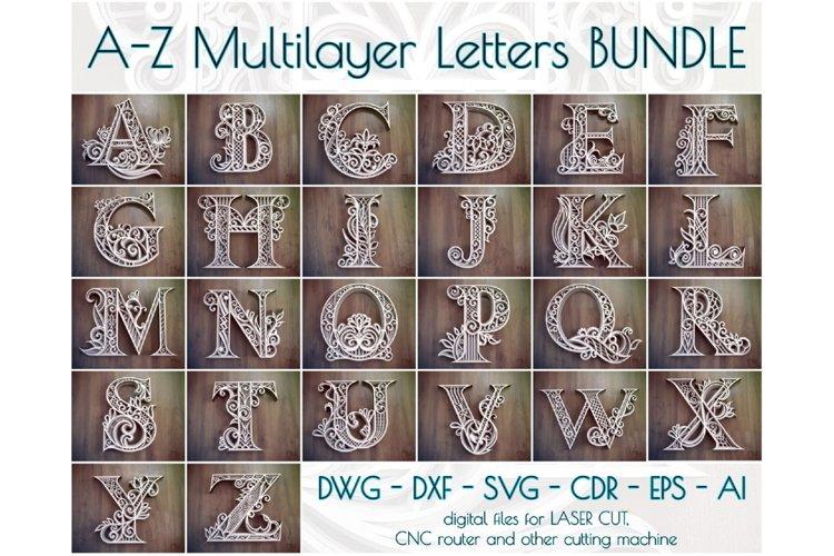 A-Z Layered Letters Bundle, Alphabet letters Bundle