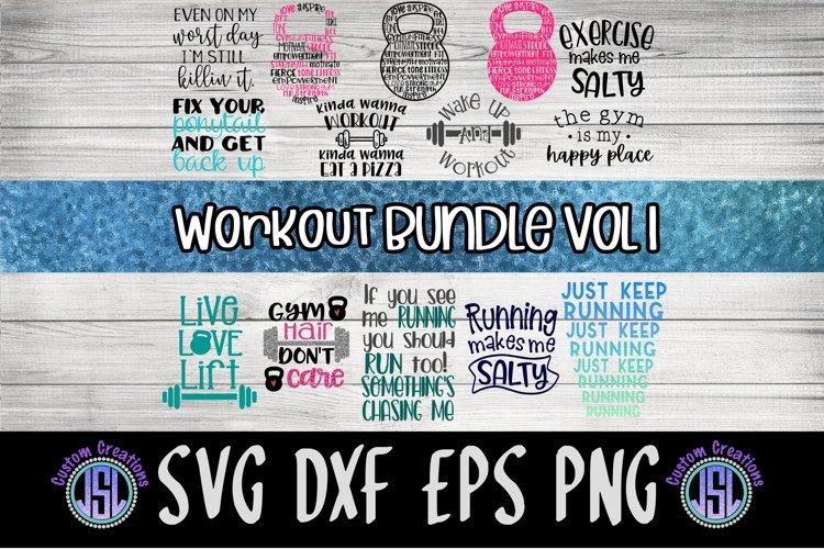 Workout Bundle Set of 16 | Exercise SVG | SVG DXF EPS PNG example image 1