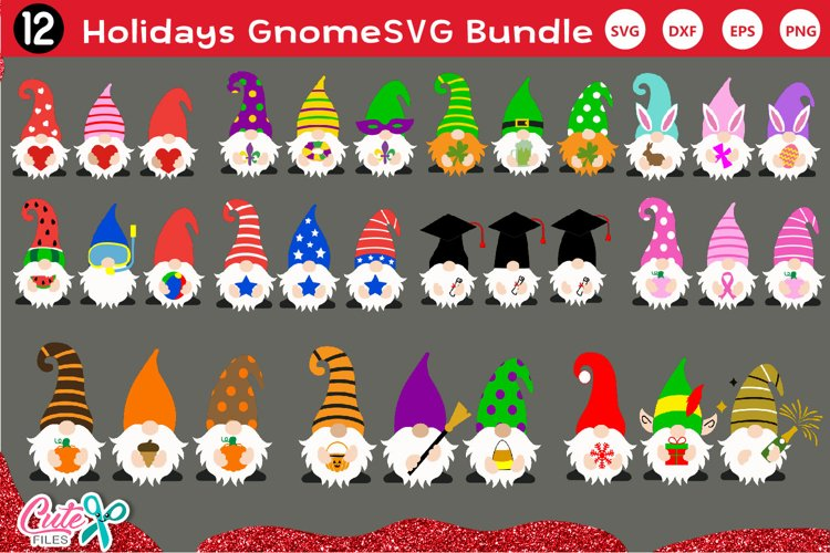 Gnome Holidays Bundle SVG for crafters