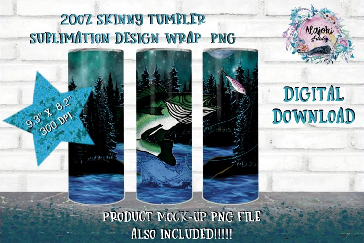 Outdoors  Fishing 20oz Sublimation Design  Tumbler Wrap example image 1