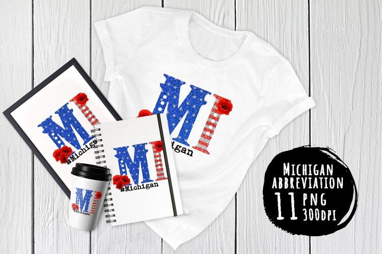 State abbreviation. USA sublimation. Michigan example image 1