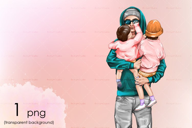 Handsome dad and two brunette daughters in his arms clipart