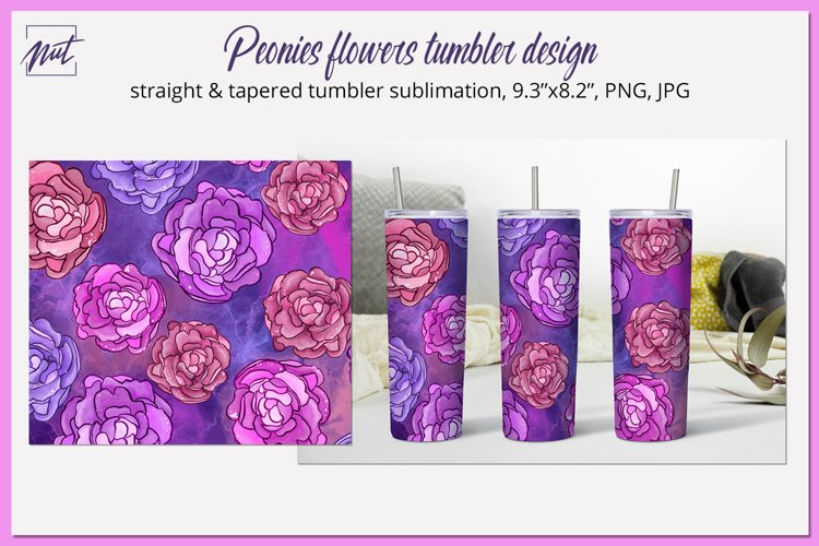 Peonies|Flower tumbler|Tumbler design with peony sublimation