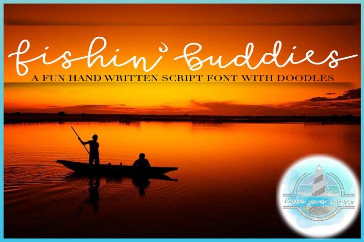 Fishin' Buddies Hand Written Script Font PLUS Doodles example image 1