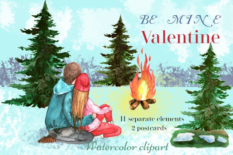Valentine couple clipart, Valentine's Day, love and romance example image 1