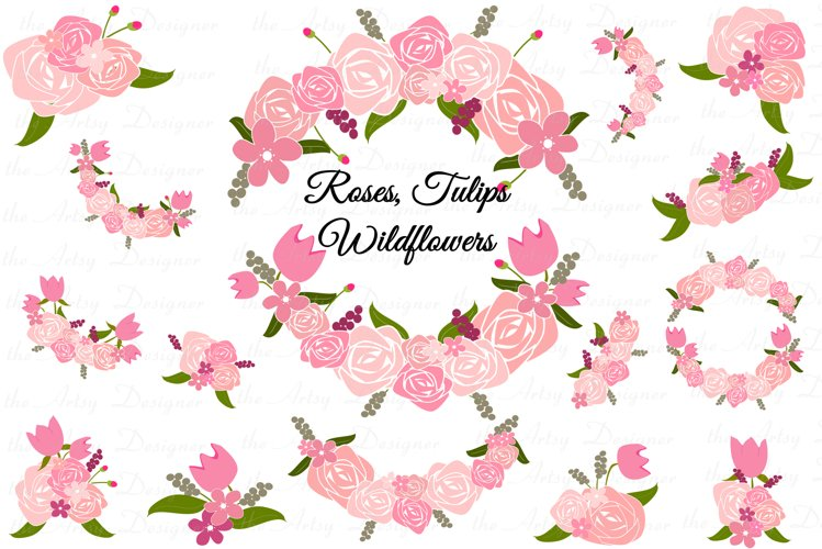 Pink Roses Tulips Wild Flowers Swags Sublimation Clipart PNG example image 1