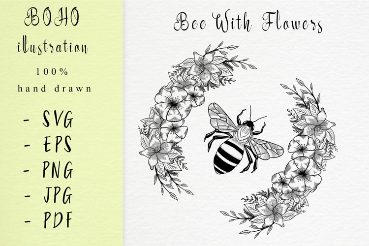Boho illustration / bee with flowers example image 1