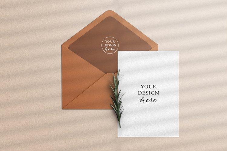 Invitation greeting card and envelope mockup scene creator example image 1