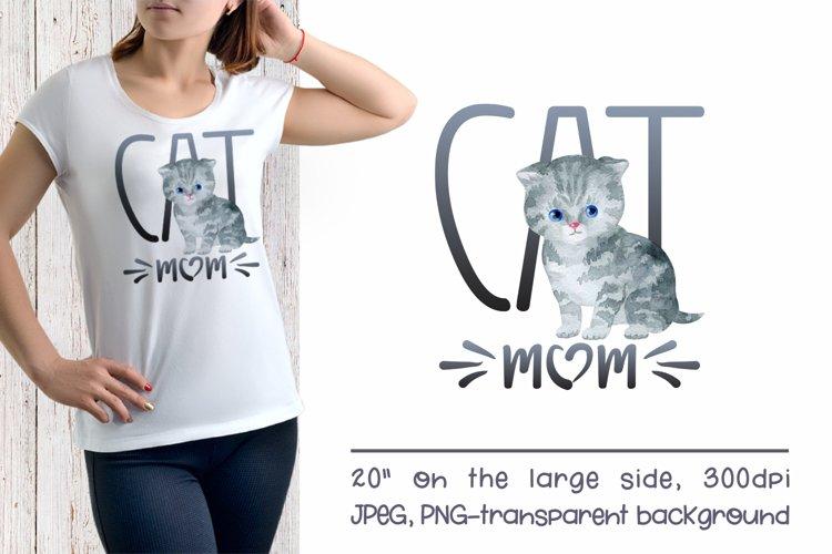 Scottish Fold Cat Mom Sublimation Design