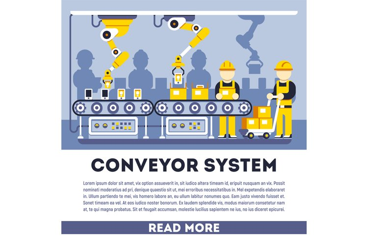 Conveyor system with manipulators vector flat concept example image 1