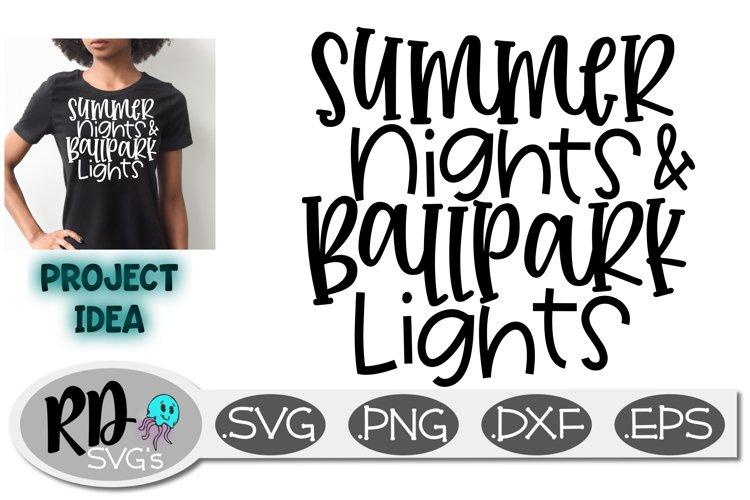 Softball Baseball SVG - Summer Nights and Ballpark Lights example image 1