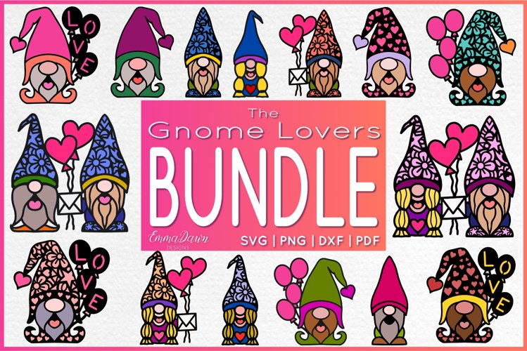 THE GNOME LOVERS BUNDLE SVG 15 VALENTINES DAY MANDALA DESIGN