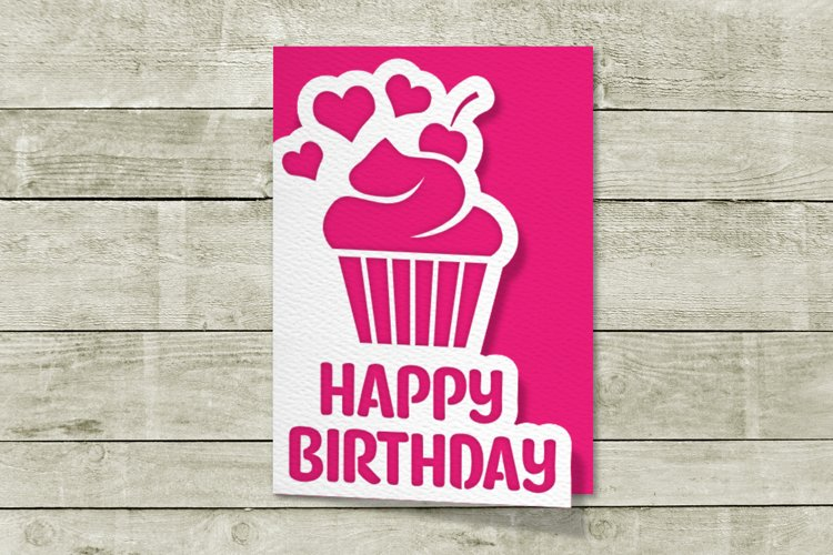 Layered Papercut Birthday Card with Cupcake SVG File example image 1