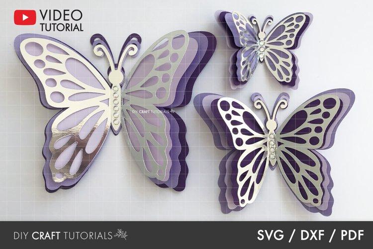 Butterfly SVG, 3D Butterfly SVG, DXF, PDF