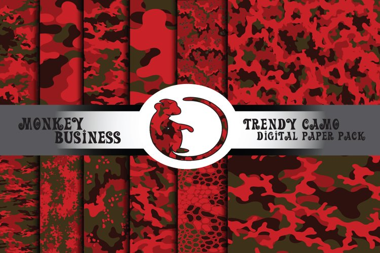 Red gray and brown camo digital paper pack, Instant download example image 1