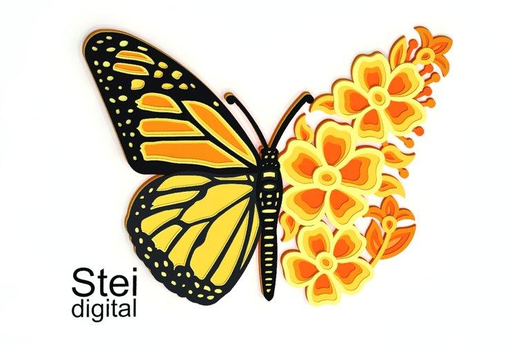 3d butterfly mandala SVG, DXF cut files, floral butterfly.