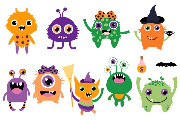 Cute Halloween monsters clipart set, Funny silly creatures