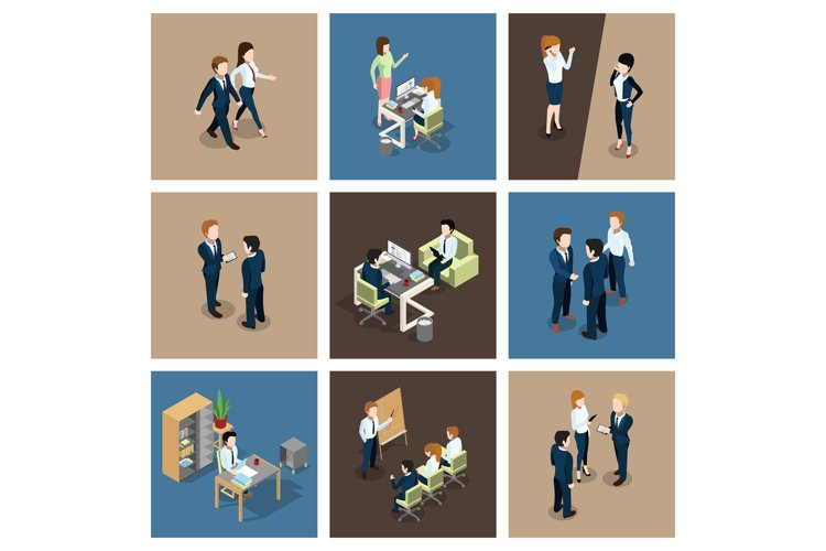 Different business situations in office. Businessman working example image 1