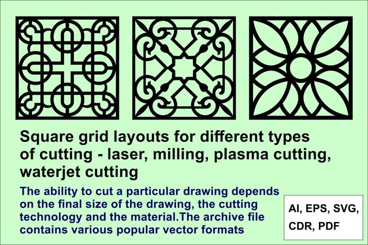 Square lattices layouts for different types of cutting example image 1