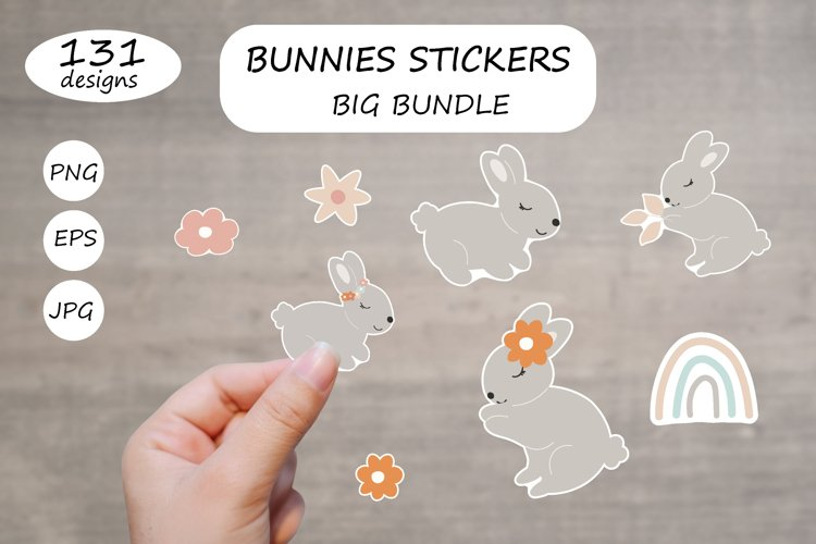 Bunnies Sticker Pack BUNDLE Printable / Animal characters