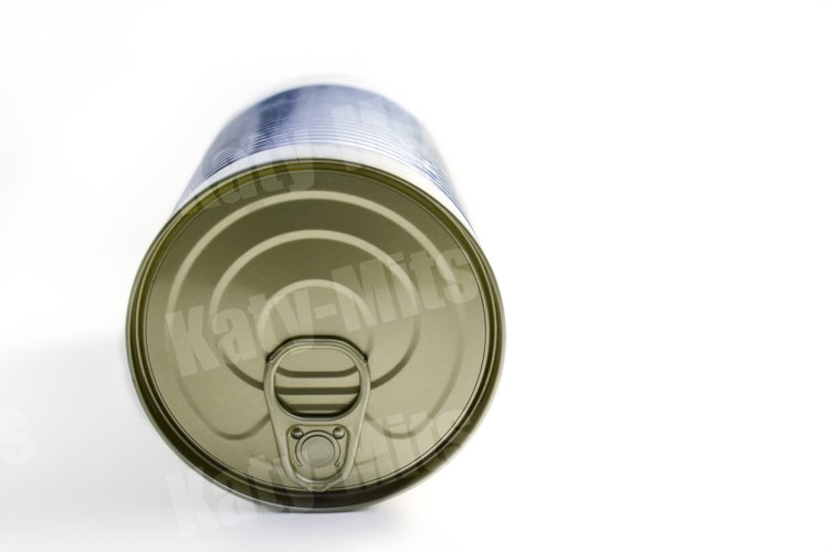 Tin can with ring pull side on white background close up. example image 1