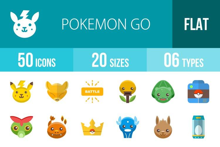 50 Pokemon Go Flat Multicolor Icons