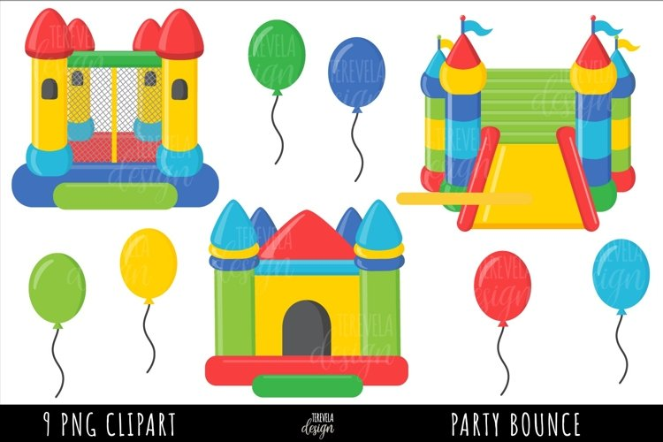 PARTY CLIPART, BOUNCE HOUSE SUBLIMATION, BOUNCE