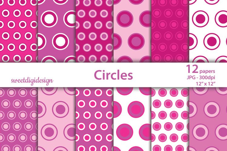 Pink circles and dots seamless digital paper example image 1