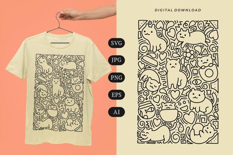 Cat Doodle T-shirt   SVG example image 1
