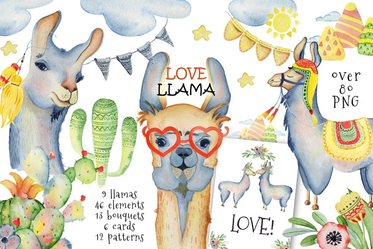 Cute llamas. Watercolor animals clipart example image 1